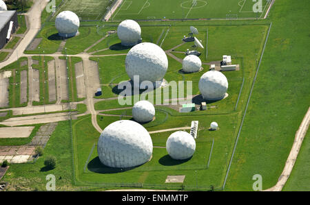 Bad Aibling, Germany. 8th May, 2015. An areal view of radar domes can be seen on the premises of the monitoring - Stock Photo