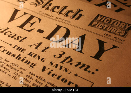 Normandy, France, 8th May 2015. Copy of the front page of The Daily Sketch newspaper, Britain's oldest tabloid. - Stock Photo