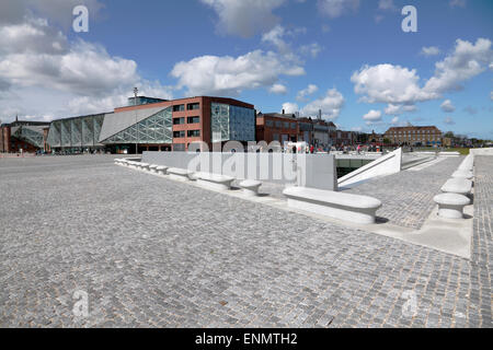 The underground Danish Maritime Museum next to the Culture Yard in Elsinore / Helsingør, Denmark. Bollards signal - Stock Photo