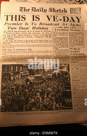 Normandy, France, 8th May 2015. Copy of front page of The Daily Sketch newspaper, Britian's oldest tabloid, from - Stock Photo