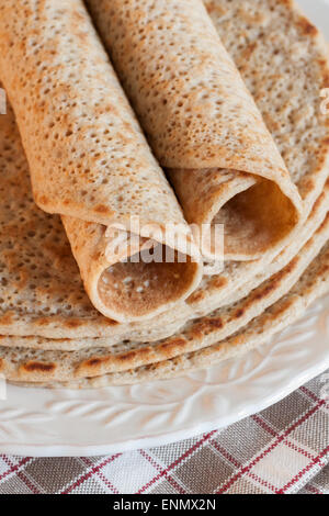 Staffordshire Oatcakes a savoury pancake made with oatmeal flour and yeast - Stock Photo