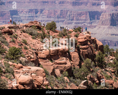 Hikers at Cedar Ridge, South Kaibab Trail, Grand Canyon National Park, Arizona. - Stock Photo