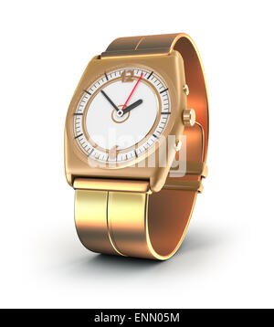 Golden watch over white - Stock Photo