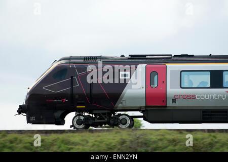CrossCountry Voyager train at speed, Warwickshire, UK - Stock Photo