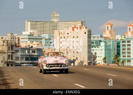 An old American car, now used as a taxi, in Havana, Cuba - Stock Photo