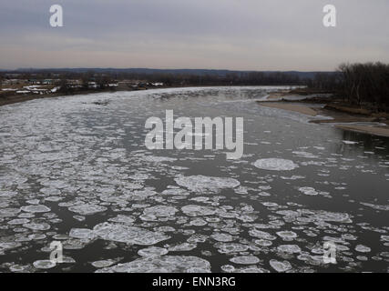 Ice floes on a river in Winter - Stock Photo