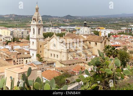 view over city with the CollegiateBasilicaofSanta Maria (Iglesia Colegial Basilica de Santa Maria) La Seu, Xativa, - Stock Photo