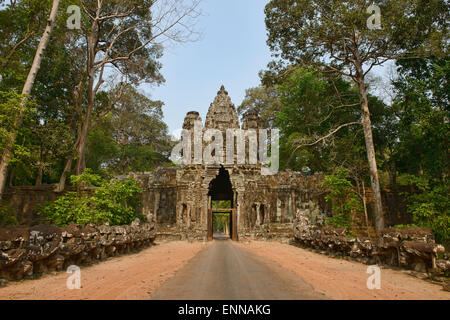 The East Gate of Angkor Thom at Angkor Wat in Siem Reap, Cambodia - Stock Photo