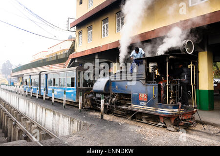 The steam train (Toy Train) at Darjeeling Railway Station. - Stock Photo
