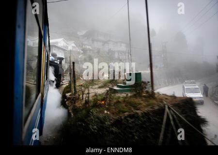 Aboard the Steam-powered 'Toy Train', Darjeeling. - Stock Photo