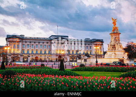 LONDON - APRIL 12: Buckingham palace at sunset on April 12, 2015 in London, UK. - Stock Photo