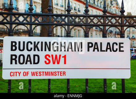 LONDON - APRIL12: Buckingham Palace Road sign on April 12, 2015 in London, UK. - Stock Photo