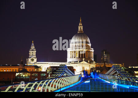 Saint Pauls cathedral in London, United Kingdom in the evening - Stock Photo