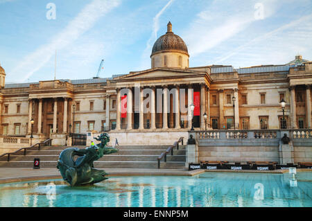 LONDON - APRIL 12: National Gallery building at Trafalgar square on April 12, 2015 in London, UK. Founded in 1824. - Stock Photo