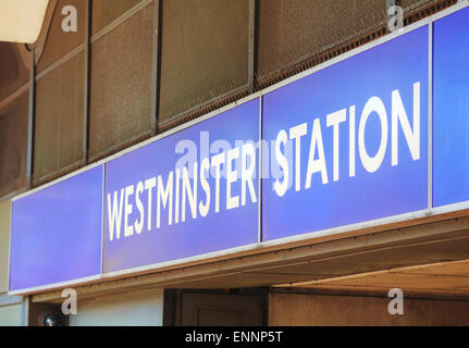 Westminster underground station sign in London, UK - Stock Photo