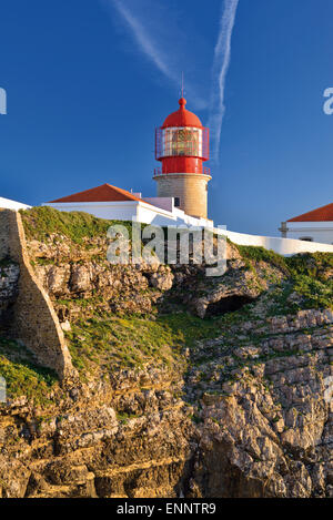 Portugal, Algarve: Lighthouse Saint Vincent at Cape Vincent - Stock Photo