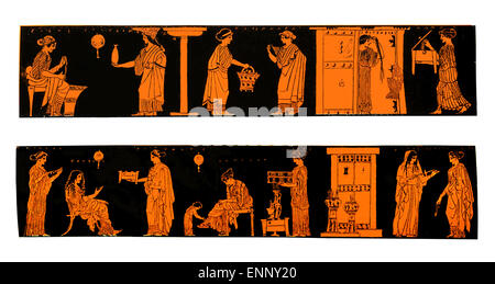 Ancient Greek vases depicting life and lifestyle of Greek women at home, isolated on white - Stock Photo