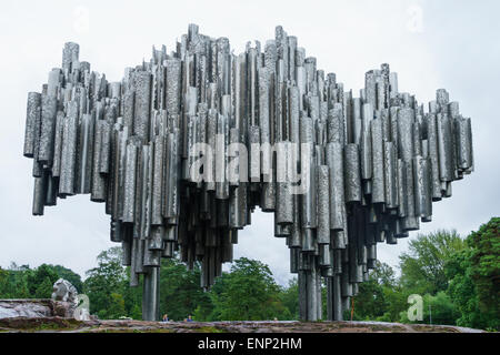 The organ pipe design of the Sibelius monument sculpture in  Sibelius Park, Helsinki, Finland. - Stock Photo