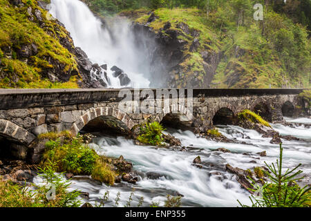 The famous Laatefossen in Odda, one of the biggest waterfalls in Norway - Stock Photo
