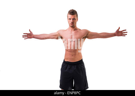 Attractive young muscle man shirtless with arms spread open, isolated on white - Stock Photo