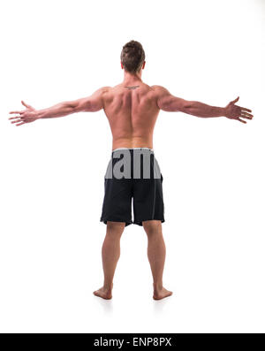 Back of young muscle man shirtless with arms spread open, isolated on white - Stock Photo