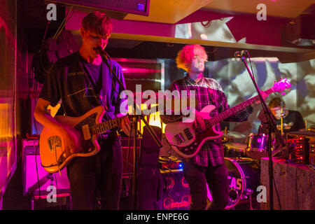 London, UK. Wednesday 22nd April 2015. Indie band Crushed Beaks playing live at The Social in London. - Stock Photo