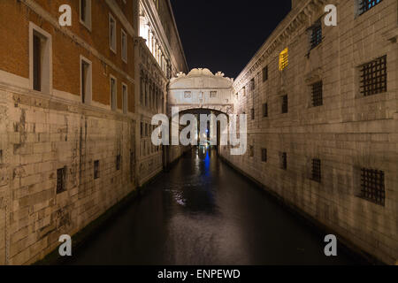 A view of the Bridge of Sighs (Ponte dei Sospiri) in Venice at night. There is space for text. - Stock Photo