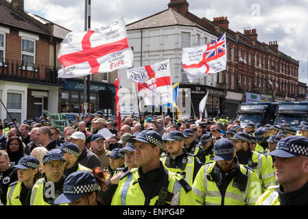 The English Defence League faced a huge police presence and strong local opposition at Walthamstow march. - Stock Photo