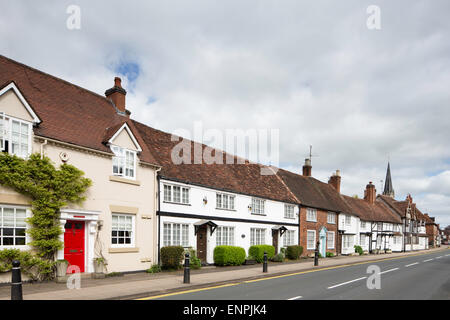 Timber frames cottages line the high street in Henley in Arden, Warwickshire, England, UK - Stock Photo