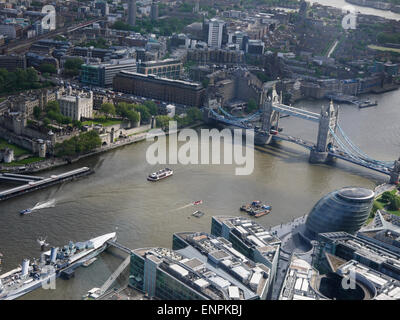 View from The Shard, London, UK. Showing HMS Belfast, City Hall, Tower Bridge, The Tower of London, River Thames - Stock Photo