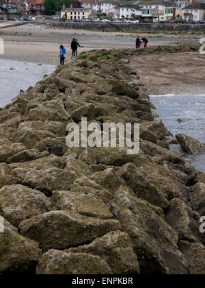 Rhos on Sea from the end of the harbour breakwater - Stock Photo