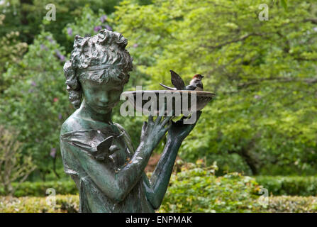 Secret Garden fountain at the Conservatory Garden in Central Park, New York - Stock Photo