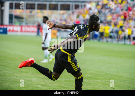 Columbus Crew SC forward Kei Kamara (23) celebrates his goal in the first half of the match between Seattle Sounders - Stock Photo
