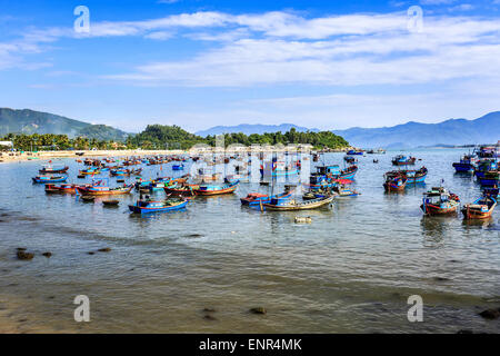 Local Boats At Morning in Nha Trang central Vietnam - Stock Photo