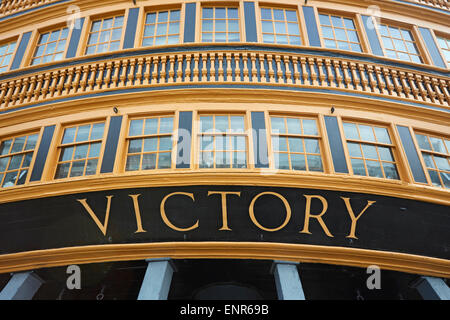 Portsmouth the stern of HMS Victory Nelson's flagship at the battle of Trafalgar - Stock Photo