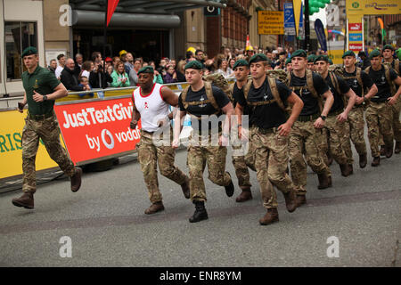 Manchester, UK. Sunday 10 May 2015. The city hosted the Morrison's Great Manchester Run in the heart of the city - Stock Photo