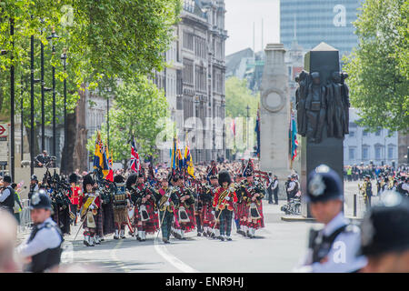 VE Day 70 commemorations -  marking historic anniversary of end of the Second World War in Europe. following a Service - Stock Photo