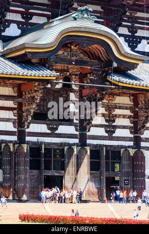 Japan, Nara, Todai-ji temple. The huge Daibutsu-den, hall, showing massive doors and gable of main entrance - Stock Photo