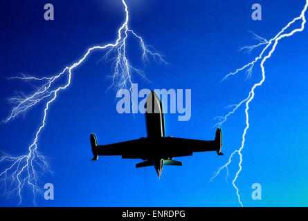 airborne jet airplane surrounded by multiple lightning bolts - Stock Photo