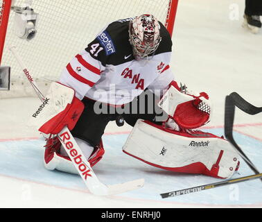 Prague, Czech Republic. 10th May, 2015. Canada's goalie Mike Smith in action in the 2015 IIHF World Championshiop - Stock Photo