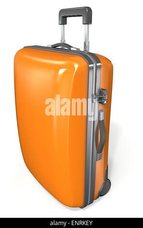 Modern hard case suitcase. Orange with zipper and lock. - Stock Photo