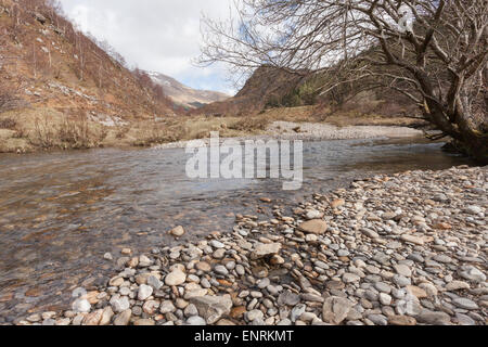 Scenic photo of a Scottish Highland river scene - Stock Photo