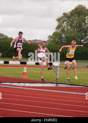 Athletes take on the water jump during a steeplechase race - Stock Photo