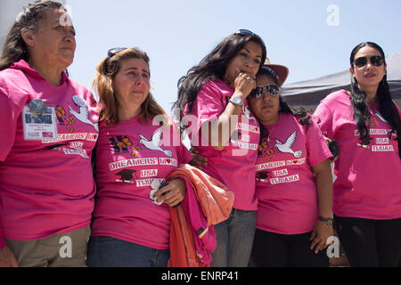 Tijuana, Mexico. 10th May, 2015. Members of the organization Dreamers Moms react during a celebration in the context - Stock Photo