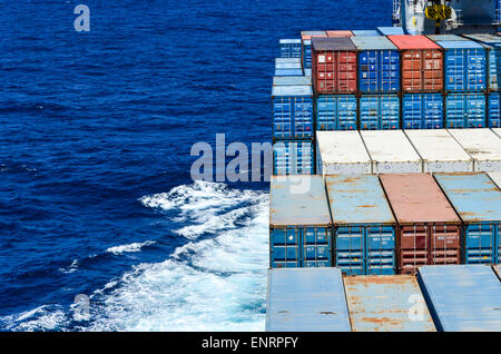 Containers in the open sea: container ship sailing in the Atlantic ocean - Stock Photo