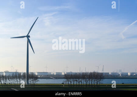 Windmills in the port of Rotterdam, Netherlands - Stock Photo