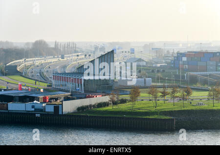 Beneluxtunnel, the tunnel on the A4 under the Maas (Nieuwe Maas) canal in the port of Rotterdam, Netherlands - Stock Photo