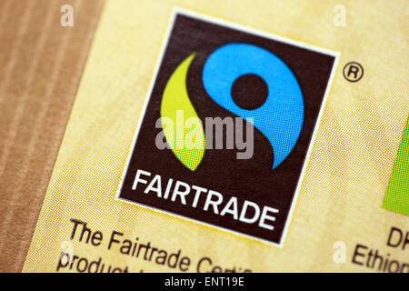 Fairtrade logo on a packet of coffee from Ethiopia - Stock Photo