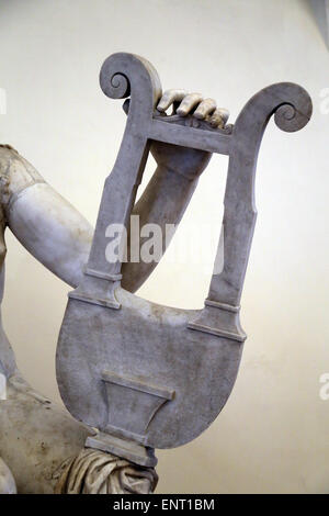 Apollo with Lyre. Detail. Roman statue. National Roman Museum. Palazzo Altemps. Rome. Italy. - Stock Photo