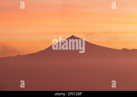 Views of Mount Teide in Tenerife at sunrise, from Gomera, Canary Islands, Spain - Stock Photo